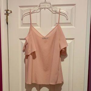 Blush pink off shoulder flowy blouse